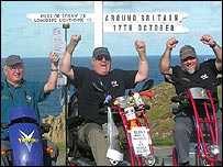 Geoff West, John Seamons and John Duckworth (l to r) celebrate journey's end