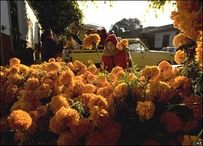 A woman with marigold flowers in Patzcuaro, central Mexico