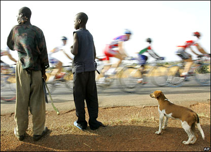 The pack cycles by during the fifth stage of the 21st Tour du Faso cycle race in Burkina Faso