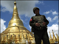 File image of a Burmese soldier outside the Shwedagon pagoda in Rangoon