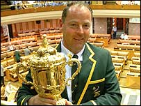 Jake White poses with the World Cup at the South African parliament on Tuesday