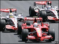 Kimi Raikkonen, Lewis Hamilton and Fernando Alonso at the Brazilian Grand Prix