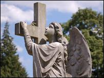 A grave statue