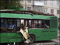 Bus wrecked by a blast in Togliatti, southern Russia