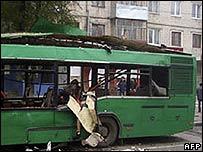 Bus wrecked by a blast in Togliatti, southern Russia