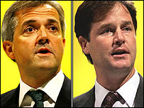 Chris Huhne and Nick Clegg - pictures by PA and Getty