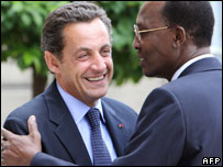Presidents Sarkozy of France and Deby of Chad, July 2007