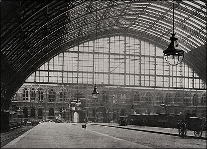 A vintage photograph of the train shed