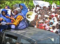 Women on the protest in Abeche against the alleged child-smuggling attempt