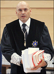 Judge Javier Gomez Bermudez arrives at the National Audience to deliver the verdict of the three-judge panel in the 2004 Madrid train bombing trial
