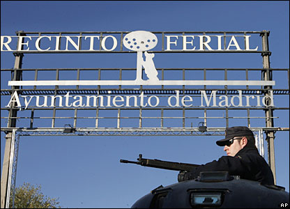 Police guard the court in Madrid for the verdict of the March 2004 bombings