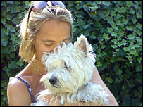 Emma Jane Kirby and Edward, a West Highland terrier