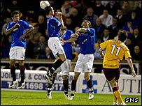 Ross McCormack troubles the Rangers wall with a free-kick