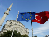 The flags of Turkey and the EU fly in front of a mosque in Istanbul, Turkey,  Oct. 4, 2005