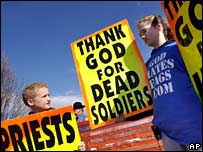 Members of the extreme anti-gay Westboro Baptist church picket the funeral of Lance Cpl Matthew Snyder in March 2006