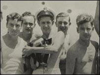 Simon pictured with Royal Navy officers - HMS Amethyst archive/PA Wire