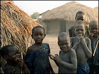 Children in a camp for displaced people in northern Uganda