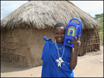 Maasai woman with Lifeline radio, Freeplay Foundation