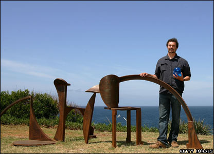 David Horton stands with his sculpture, Yesternight: Work In Progress