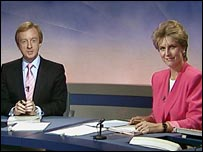 Jill Dando and Nicholas Withchell presenting Breakfast News in 1989