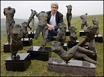 Blake Ward with his sculptures