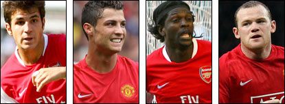 Cesc Fabregas, Cristiano Ronaldo, Emmanuel Adebayor, Wayne Rooney