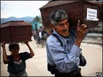 Guatemalans carry remains of relatives that had been in mass graves for burial on October 18 2007