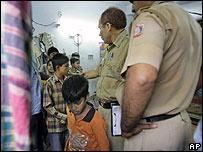 Freed child garment worker in Delhi