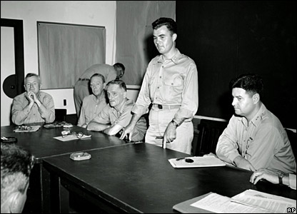 Gen Tibbets at a news conference after the mission