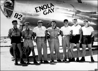 Tibbets (centre) with Enola Gay's crew before the August 1945 mission