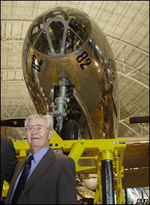 Gen Tibbets in front of Enola Gay at National Air and Space Museum in 2003