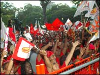 A rally of PNM supporters on 6 October - photo via PNM's advertising company
