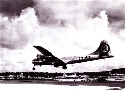 Enola Gay lands after mission in Aug 1945