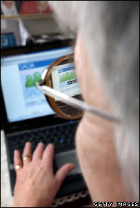 Pensioner using SagaZone, Getty