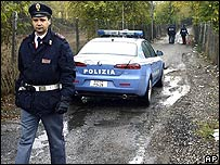 Italian police at crime scene