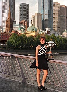 Martina Hingis with her Australian Open trophy in Melbourne, 1997.