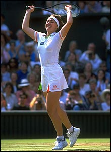 Martina Hingis winning the Wimbledon final.