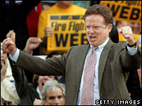 Democrat Jim Webb celebrates victory over George Allen in Virginia, Nov 2006