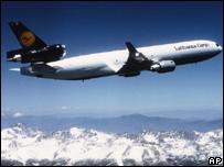 A Lufthansa cargo plane