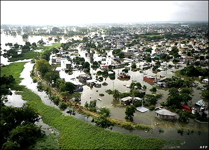 Flooded town of Villahermosa