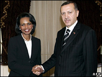 Condoleezza Rice (left) shakes hands with Recep Tayyip Erdogan