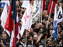 Anti-government protesters in Tbilisi, 2 Nov 07