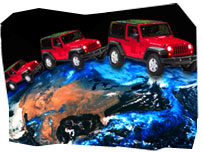 Composition image: 4x4 cars over overview of the Earth, with a focus on the US territory