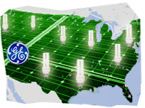 Image composition: US map with low power light bulbs and the GE logo