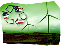 Composition image: Recycle logo with the US flag theme, over a field with wind turbines