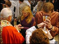 Communion wine is taken during Mass