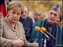German Chancellor Angela Merkel with Afghan President, Hamid Karzai