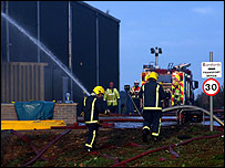 Crews at the warehouse fire