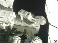 In this Nasa image, Scott Parazynski begins his spacewalk on Saturday 3 November 2007