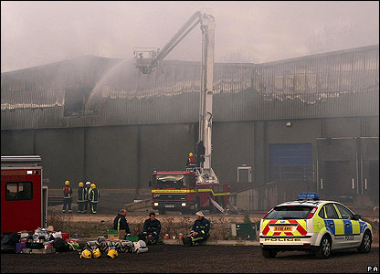 Warwickshire warehouse fire